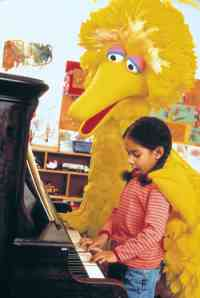 Big Bird can't drive but he can play the piano