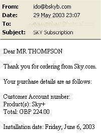Installation Date Confirmation E-mail from Sky