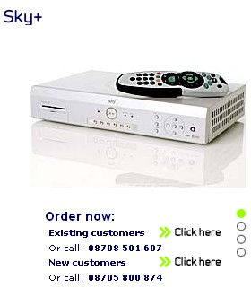 a snapshot of the web site where you can order Sky+
